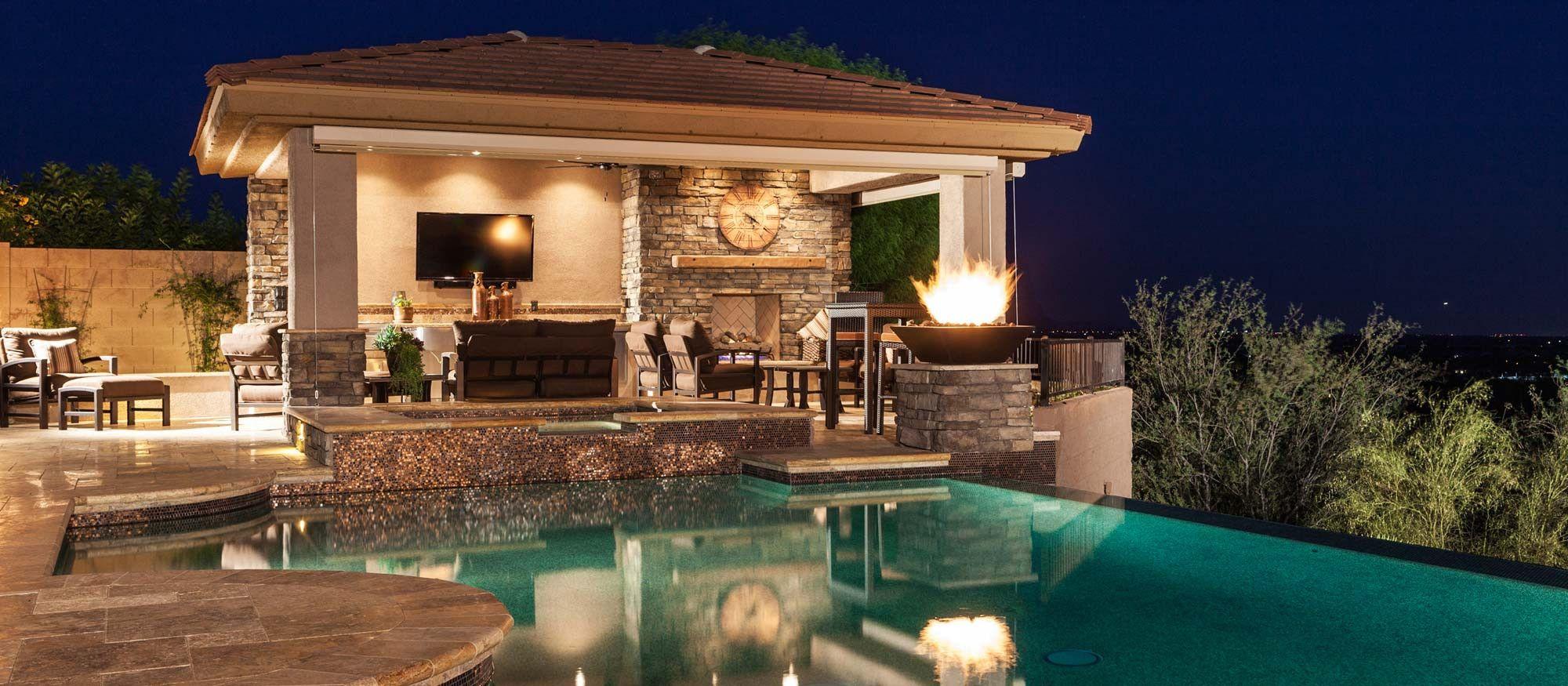 negative edge pool spa outdoor kitchen ramada fireplace backyard pool swimming pools on outdoor kitchen near pool id=98714