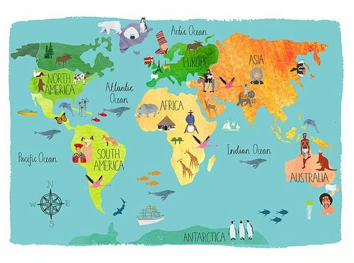 The seven continents! | World in 2019 | World map wallpaper, Map ...