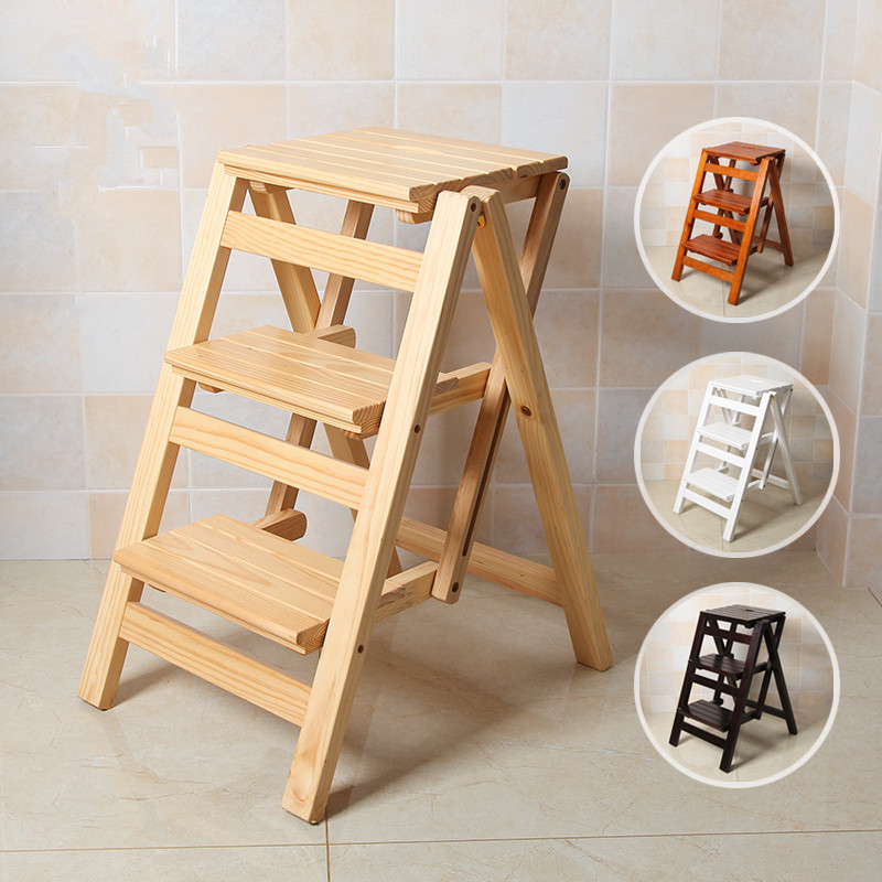 Multi Functional Ladder Stool Chair Bench Seat Wood Step Stool Folding 3 Tier For Any Task Around The Kitchen Of Wood Step Stool Kitchen Step Stool Wood Steps