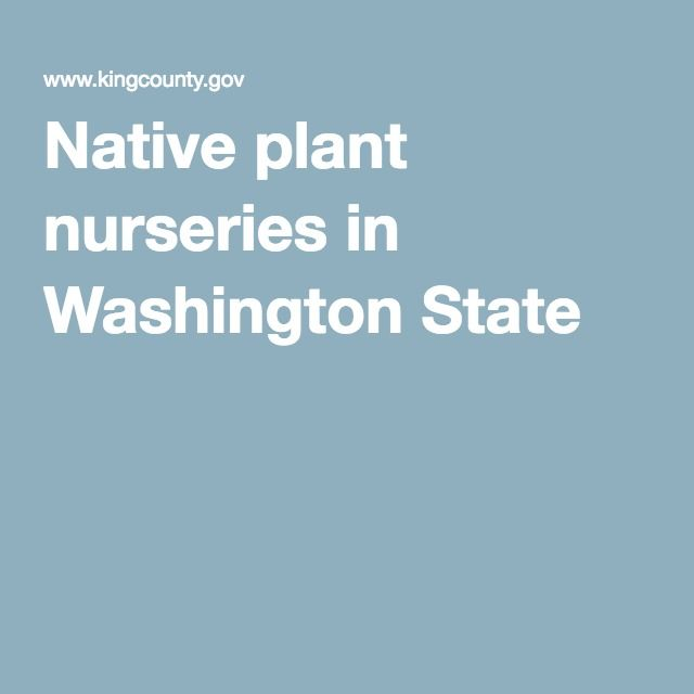 Native Plant Nurseries In Washington State
