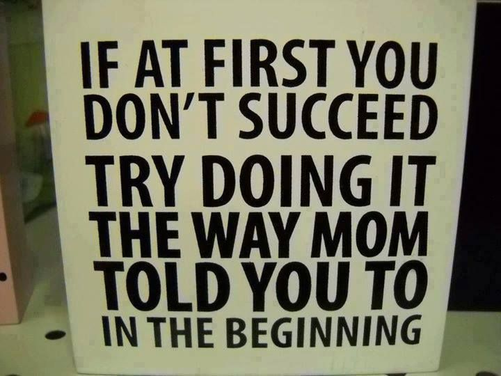 Pic/quote to share/copy/text! If at 1st U don't succeed TRY DOING IT THE WAY MOM TOLD YOU TO...