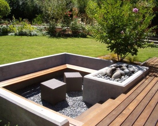 Wood Deck Design Steps Down To Firepit Sunken Patio Sunken