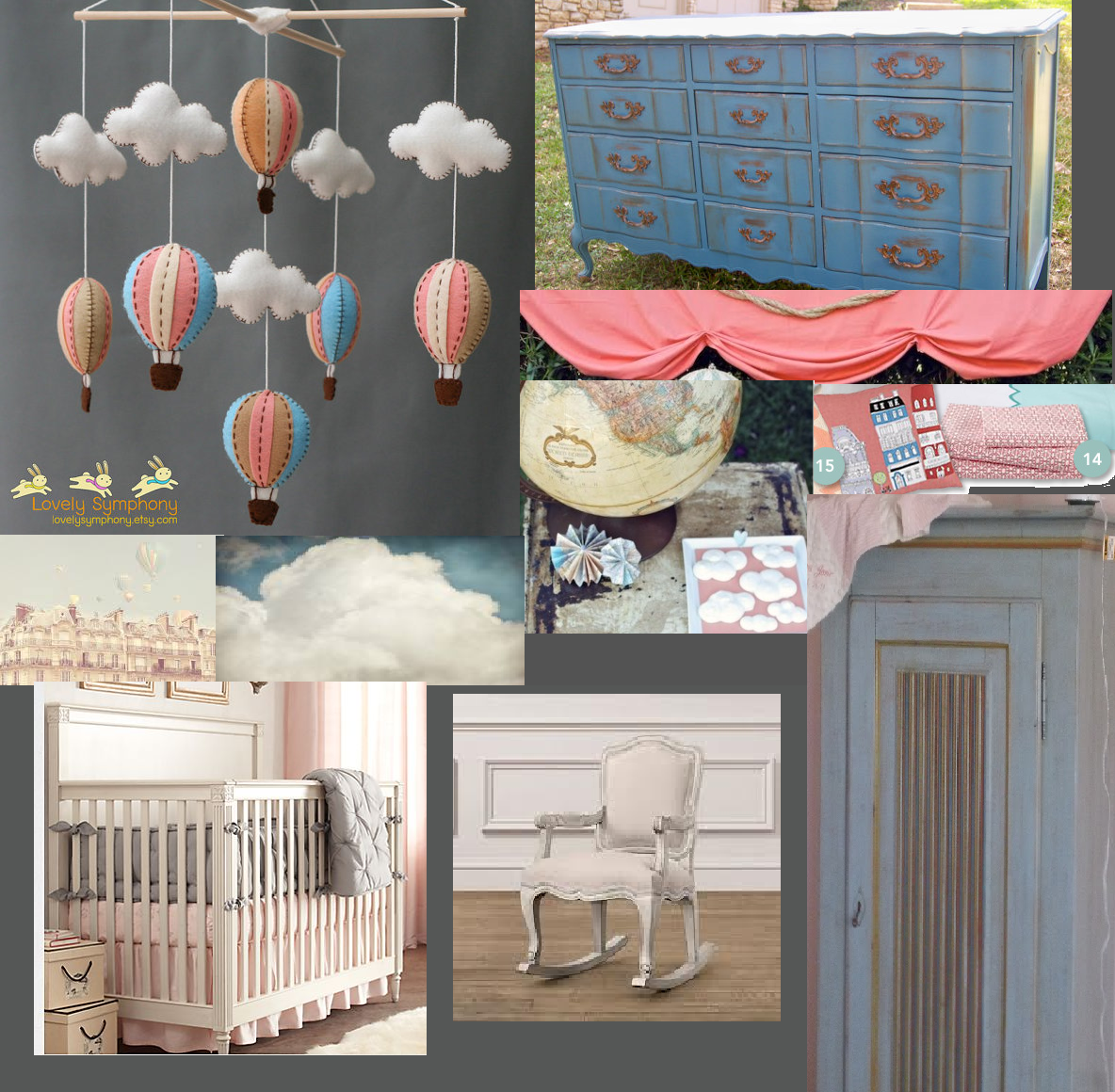 Vintage Parisian Hot Air Balloon Nursery mood board by