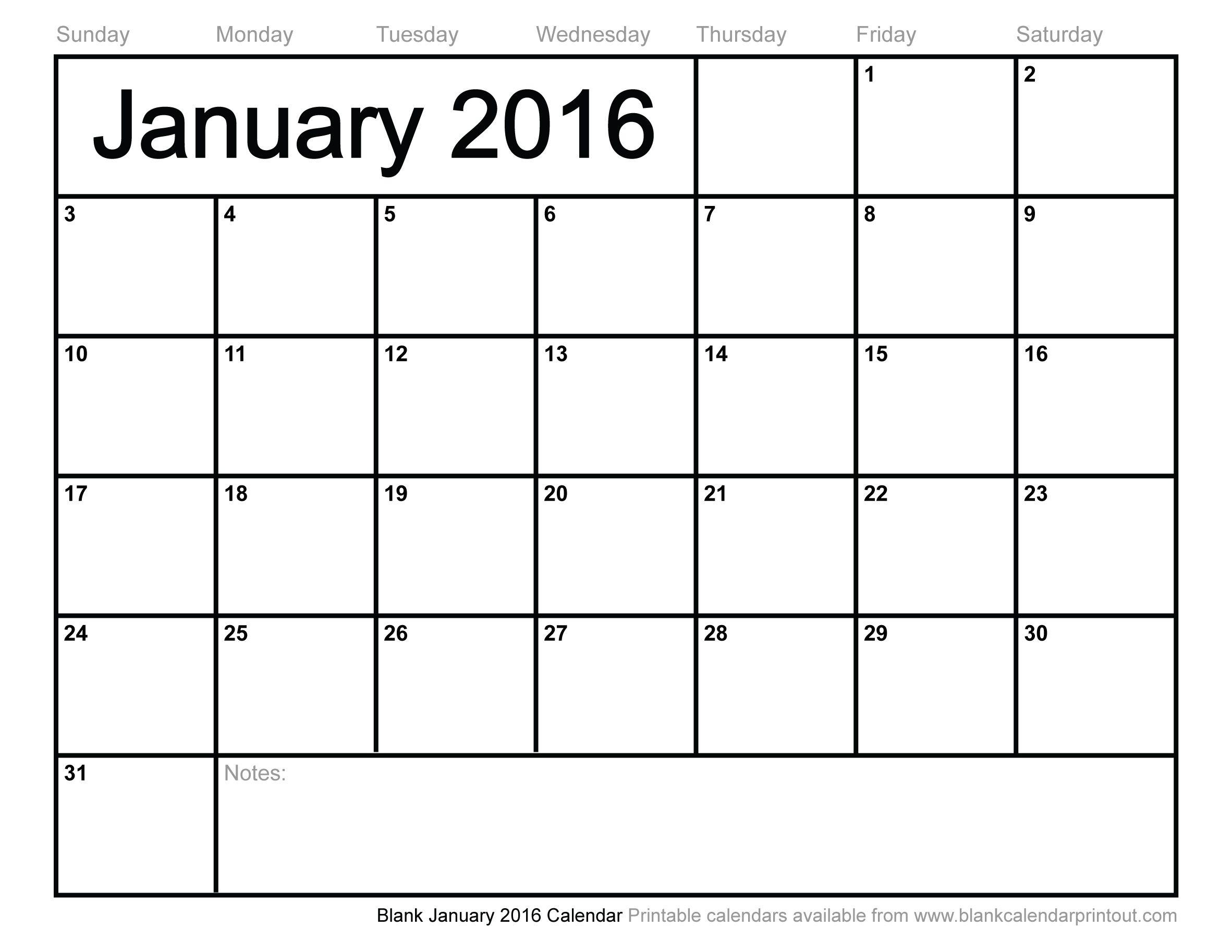 blank-January-2016-calendar.jpg | Calendars | Pinterest | 2016 ...