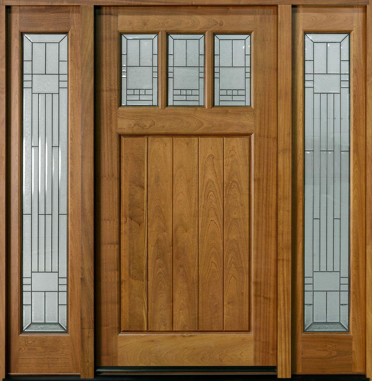 Custom Front Door Solid Wood Craftsman Collection Single With 2 Sidelites Gd 211w 2sl Cst In 2020 Custom Front Doors Main Door Design Wooden Doors