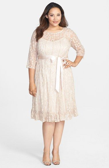 Jessica Howard Pintuck Floral Lace Dress (Plus Size) available at #Nordstrom - Beautiful dress!  Would be great for the rehearsal dinner.