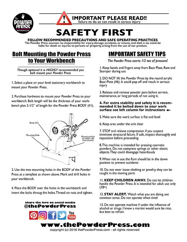 Safety Sheet for The Powder Press Safety is ALWAYS the first - safety manual template