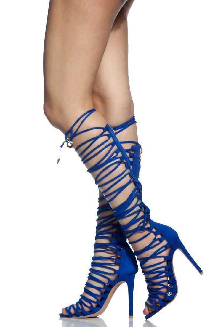 2787b562e3ff Women s Fashion High Heels   Royal Blue Faux Suede Multi Strap Knee High  Heels   Cicihot