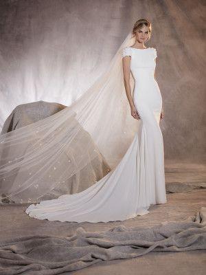 agua - vestido de novia corte sirena, manga corta y escote en