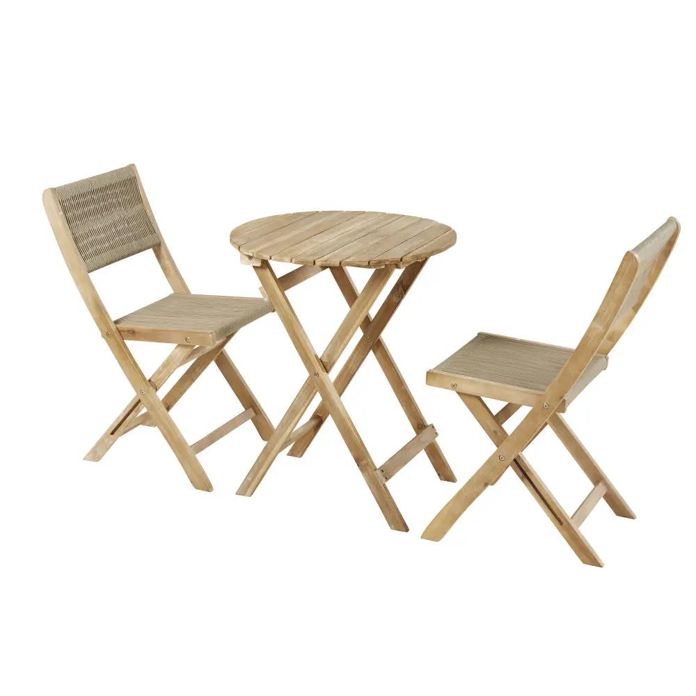 Tavolo E Sedie In Legno Da Giardino.Tavolo Da Giardino E 2 Sedie In Legno Massello Di Acacia 2