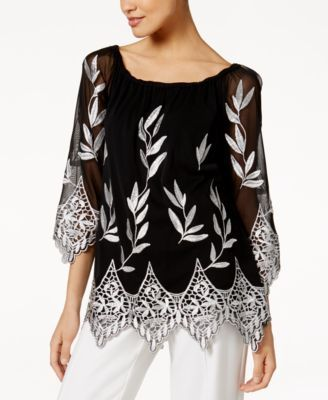 Alfani Embroidered Off The Shoulder Top Only At Macy S Macys Com