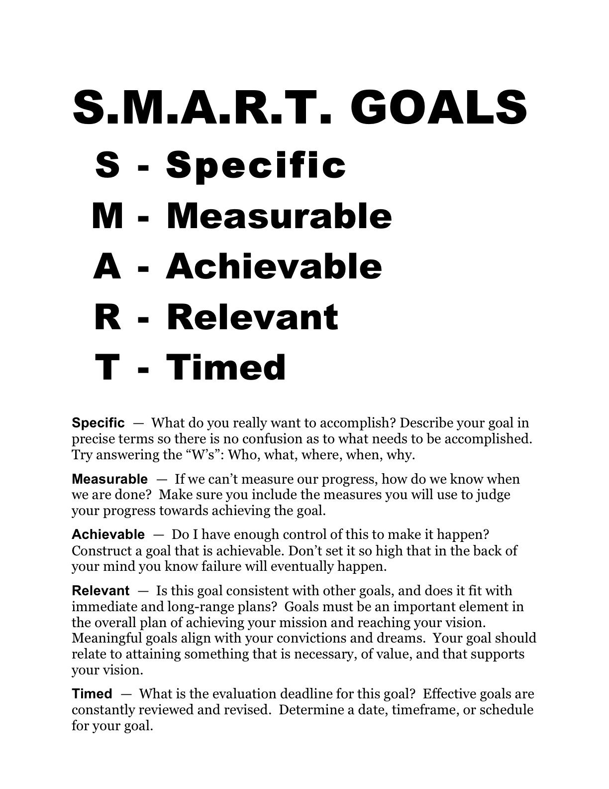 Smart Goals Worksheet SMARTGOALS Goals worksheet