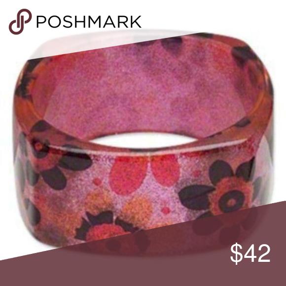 Vintage Chunky Pink Embedded Flower Bangle bracelet
