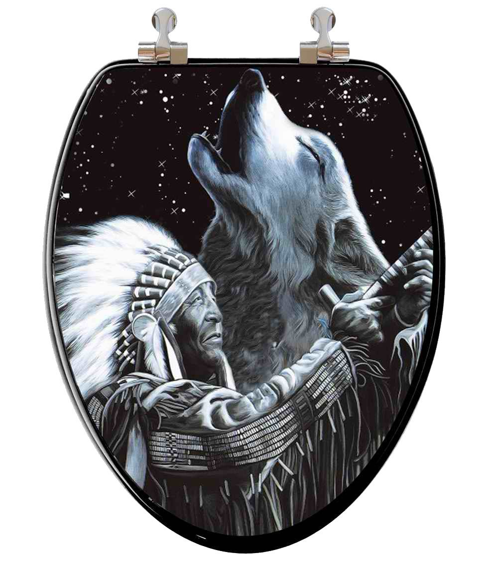 Native American Wolves Pictures Native American Wolf 3d Changing Image Toilet Seat Elongated