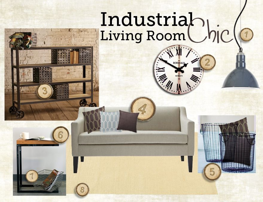 industrial chic living room style board & inspiration board
