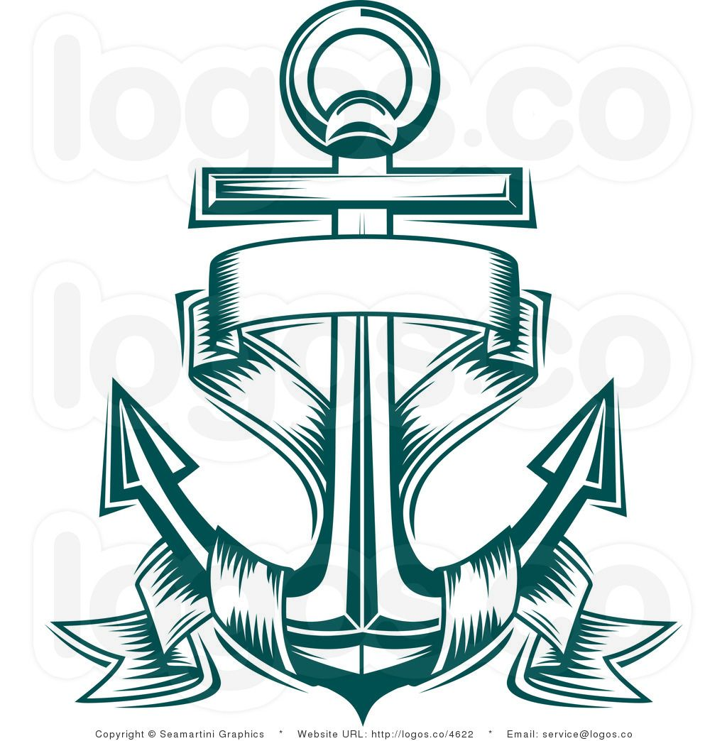 Royalty Free Nautical Anchor and Blank Text Banner Logo