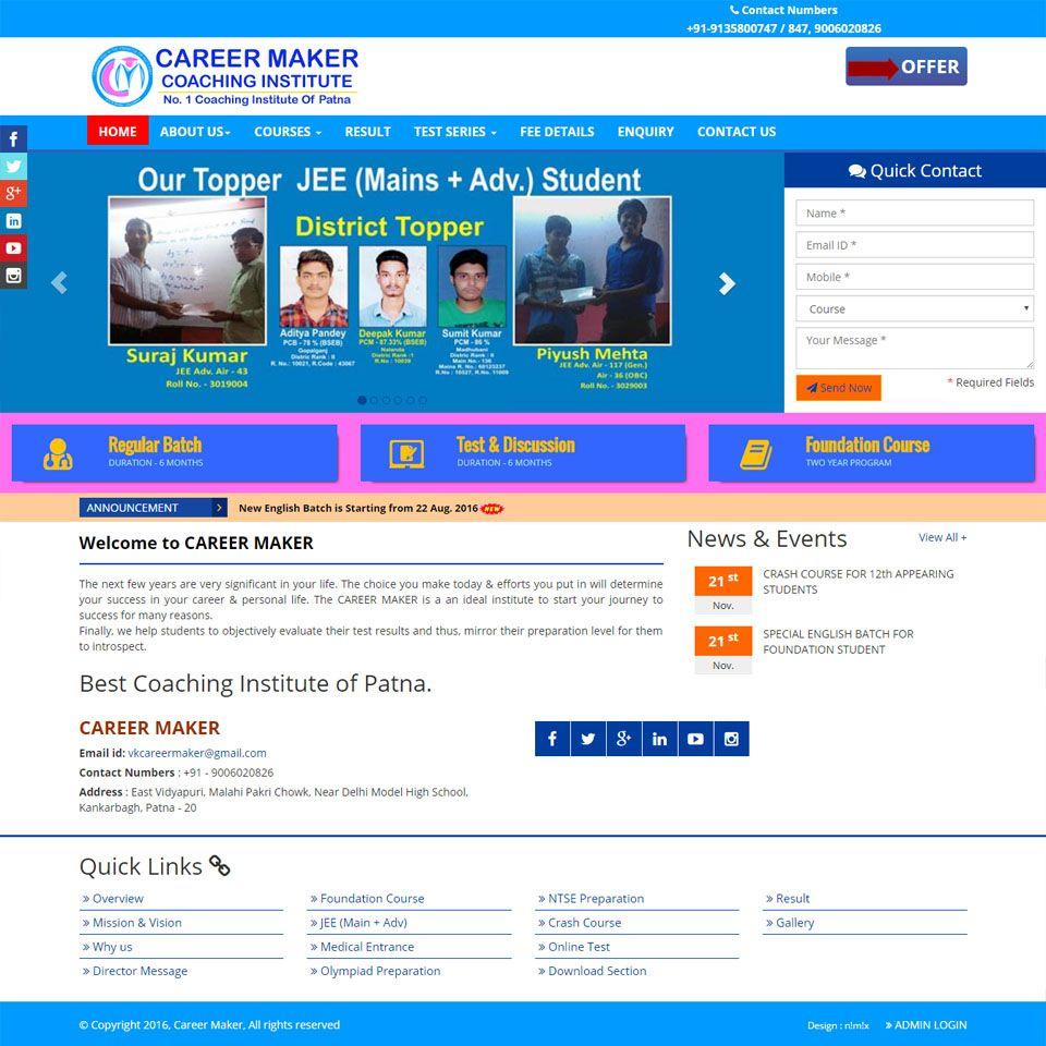 Website Design of Career Maker {Best Jee (Main + Adv) Coaching ...