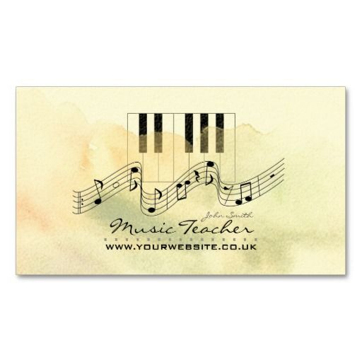 Elegant Business Card design featuring piano keys/musical notes; Perfect for Musicians, Bands, Teachers etc