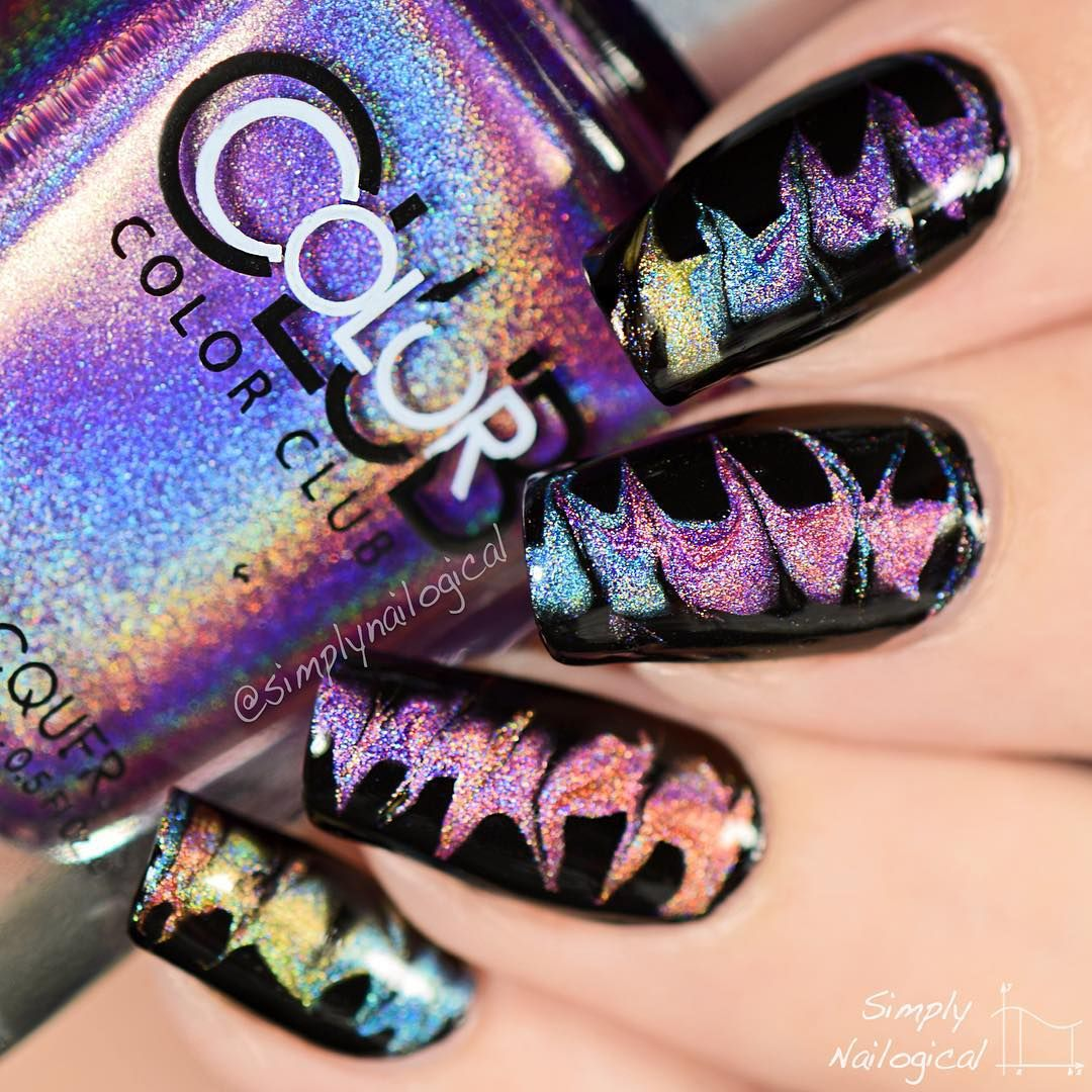 DIP YOUR FINGER IN WATER THEY SAID Holographic #dragmarble nails up ...