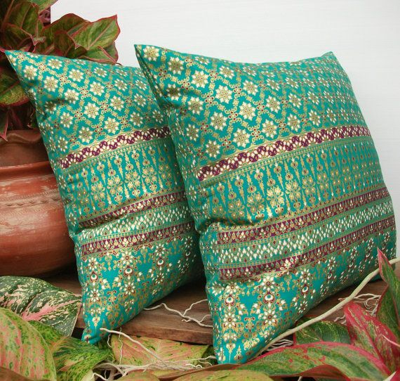 Green Teal Gold Pillow Cover Thai Painting sofa Throw decorative pillow cushion covers 18 inches
