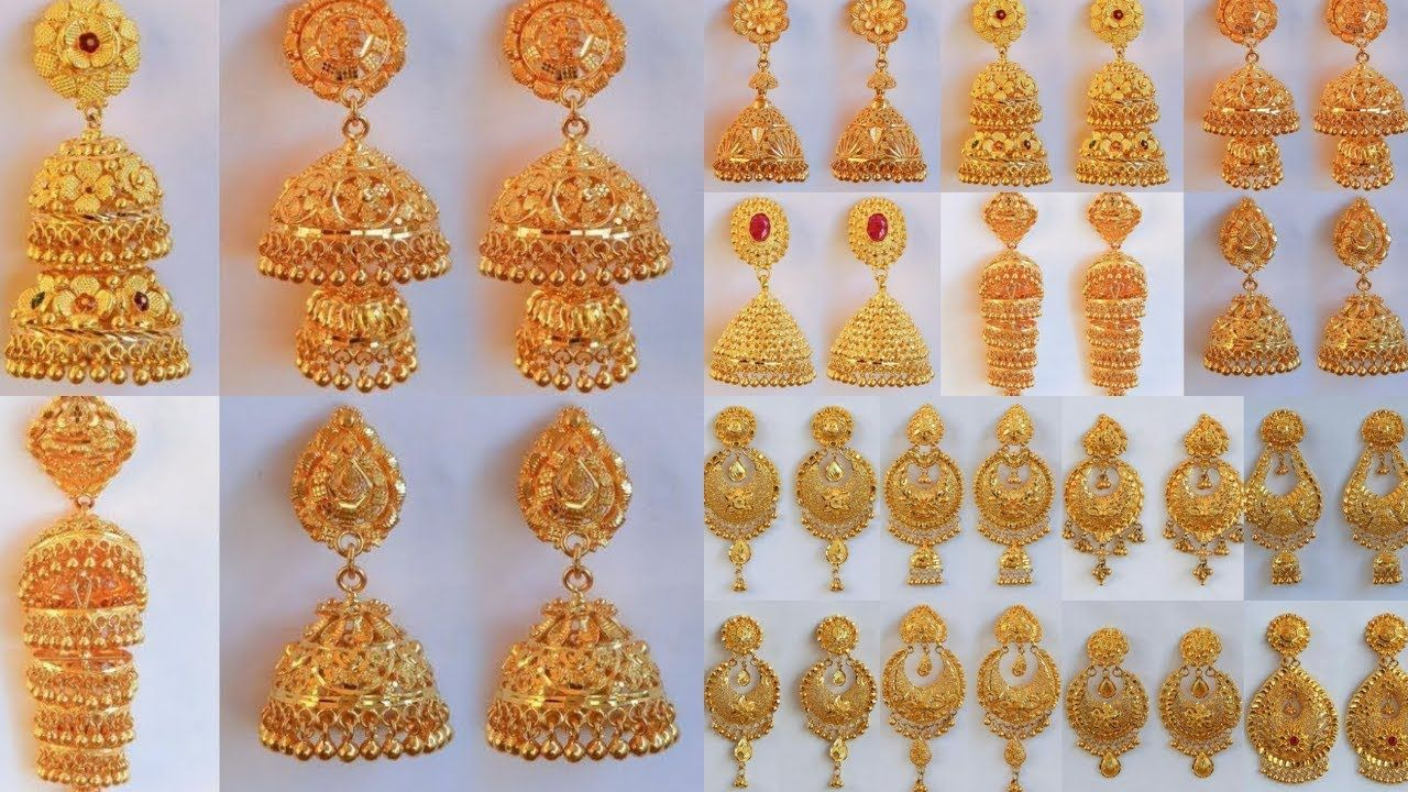 Latest New Fashion Gold Earrings Jhumka Designs Weight