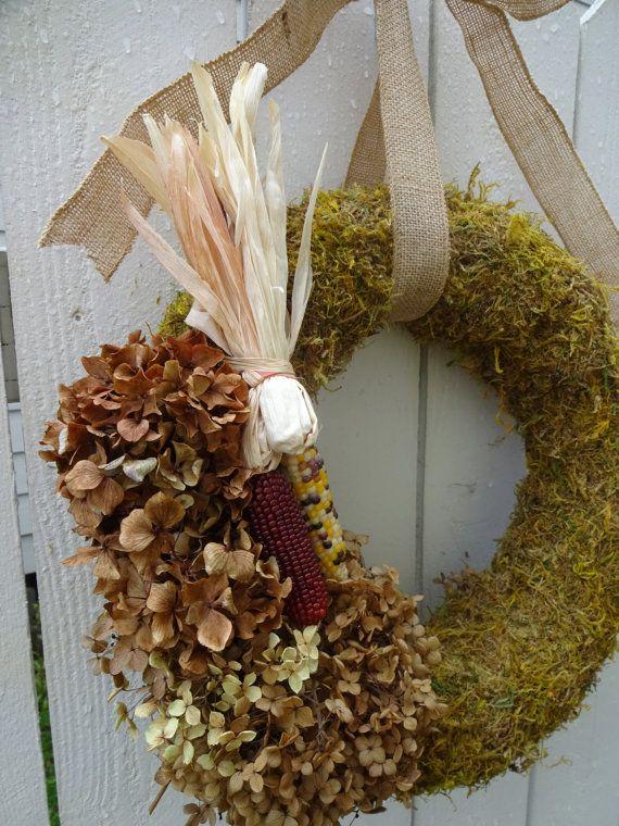 Moss Wreath Indian Corn Autumn Hydrangea Home Decor Front Door Fall Clearance