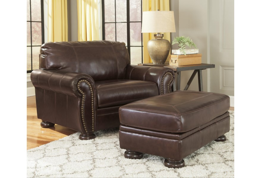 Banner Traditional Leather Match Chair And A Half Ottoman By Ashley Signature Design At Dunk Bright Furniture In 2020 Leather Chair With Ottoman Chair And A Half Furniture