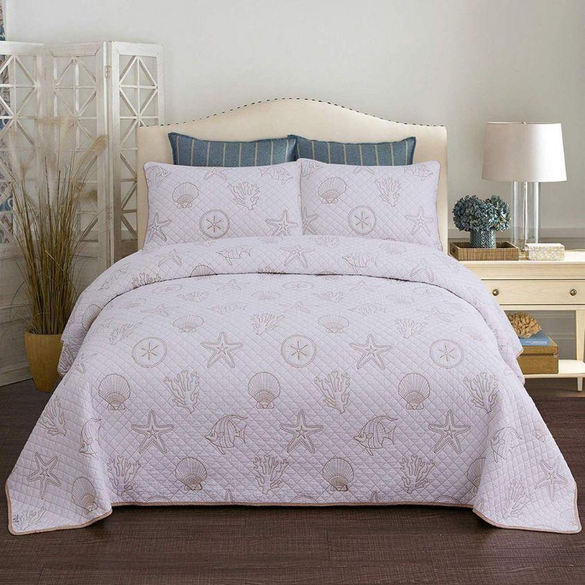 Seashells Coral Print Bedding Set Beach Theme Quilt Set Cotton