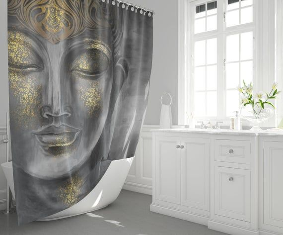 Gray Buddha Shower Curtain Spiritual Shower Curtains Gray Shower