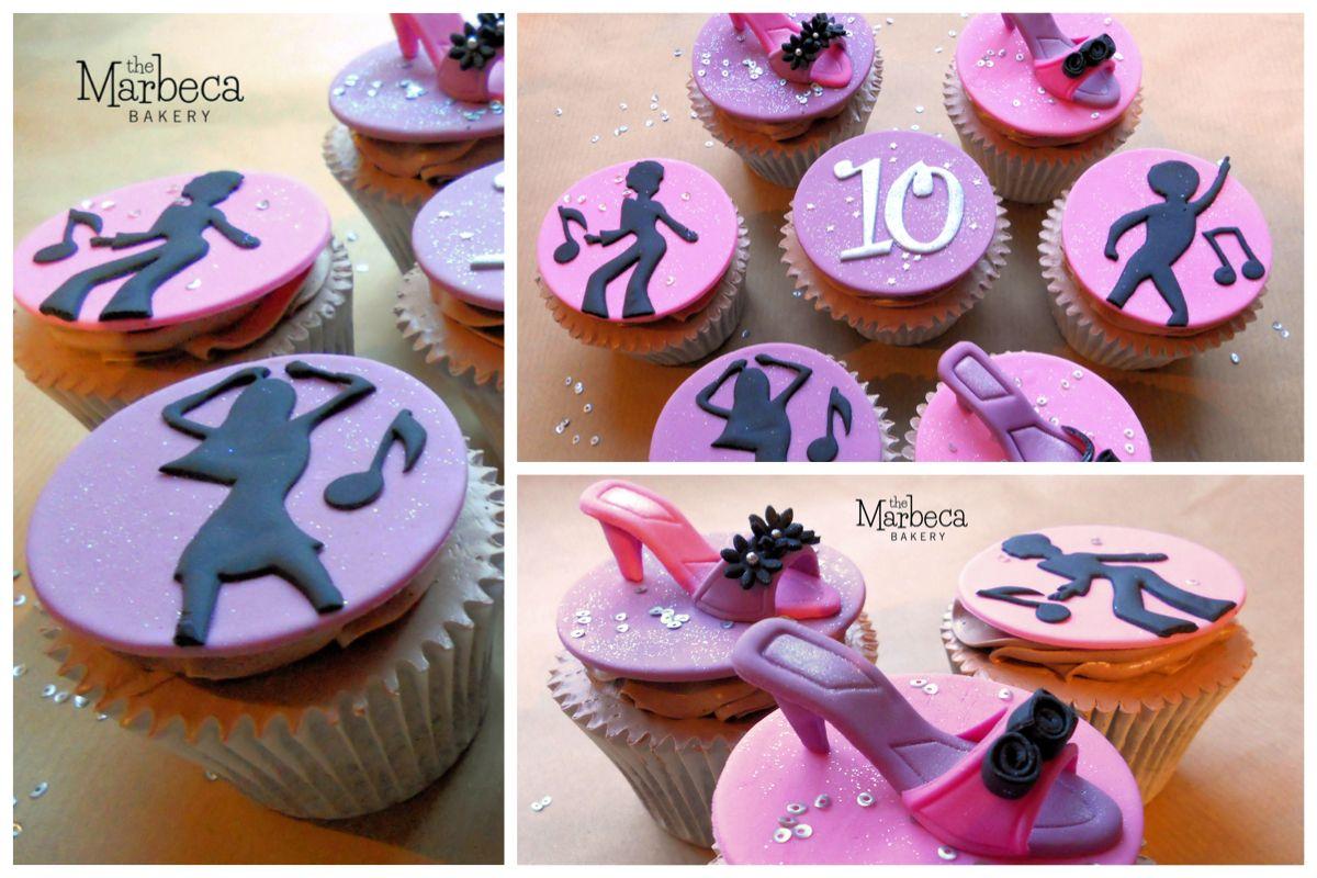 Disco themed birthday cupcakes