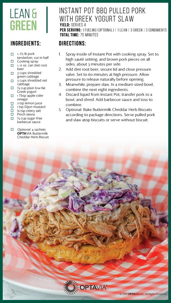 Instant Pot Bbq Pulled Pork With Greek Yogurt Slaw Lean And Green Meals Greens Recipe Lean Meals