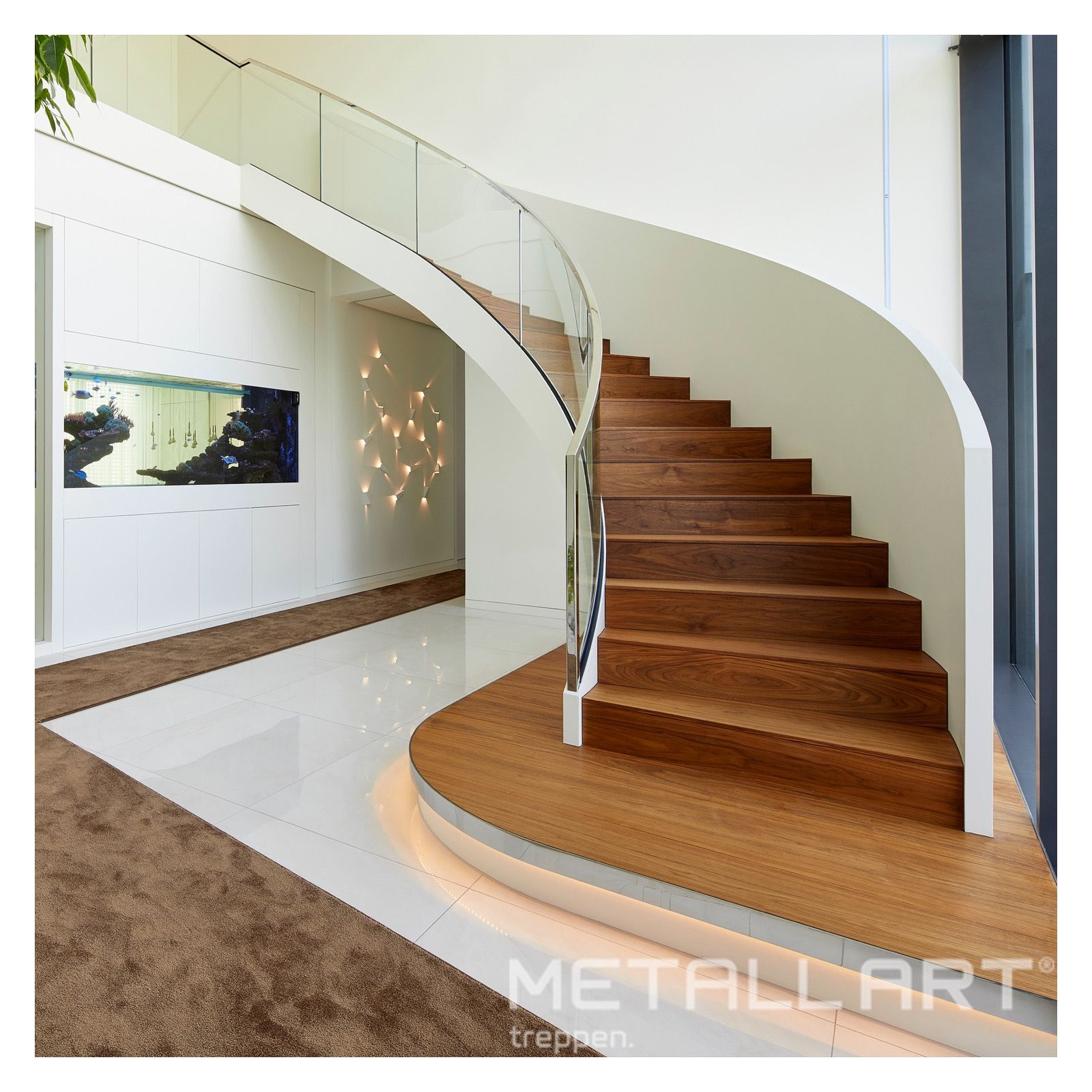 Folded stairs with elegant all-glass railing