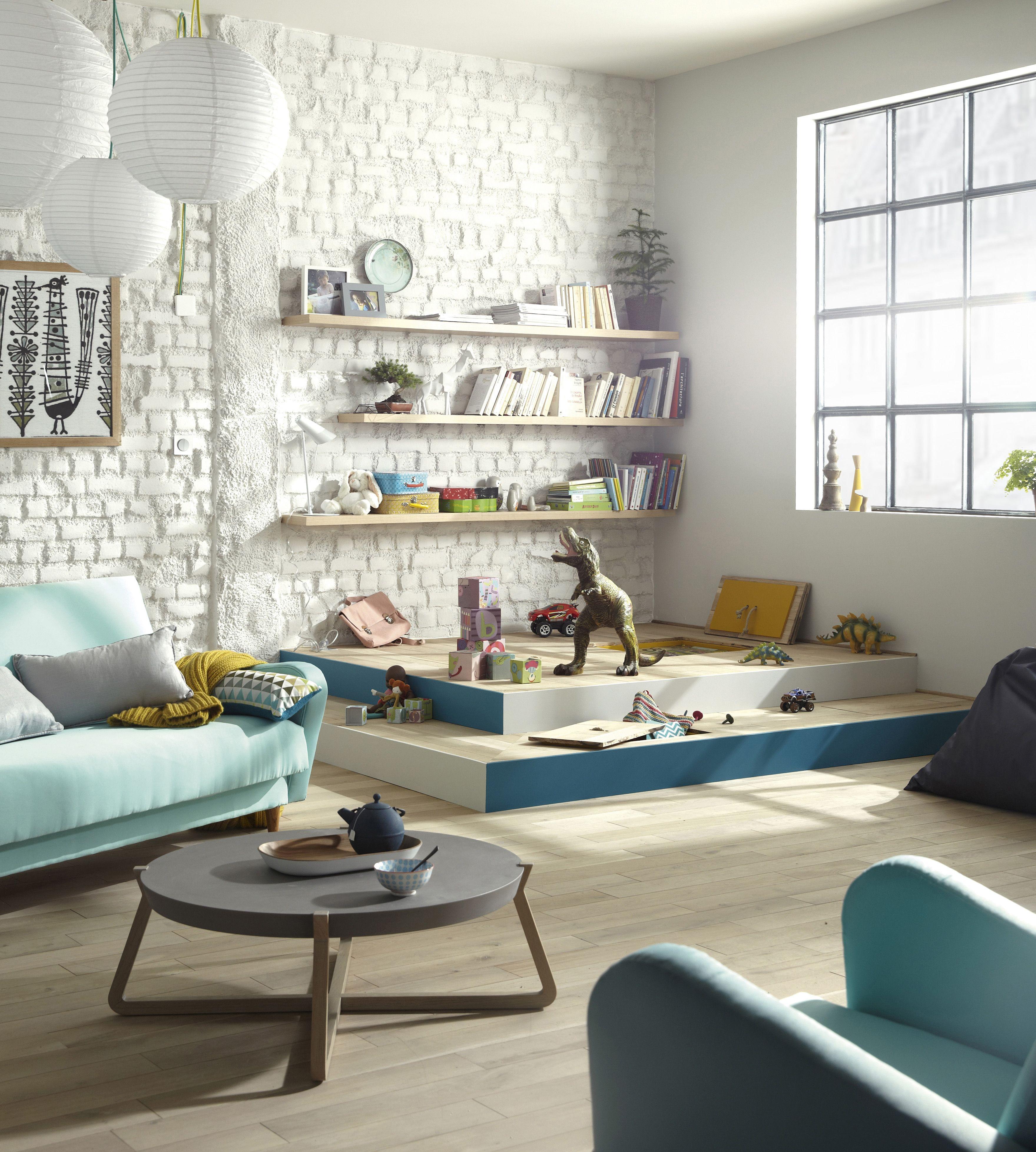 cr er un espace salle de jeux pour enfants dans le salon salon ideedeco coinenfant. Black Bedroom Furniture Sets. Home Design Ideas