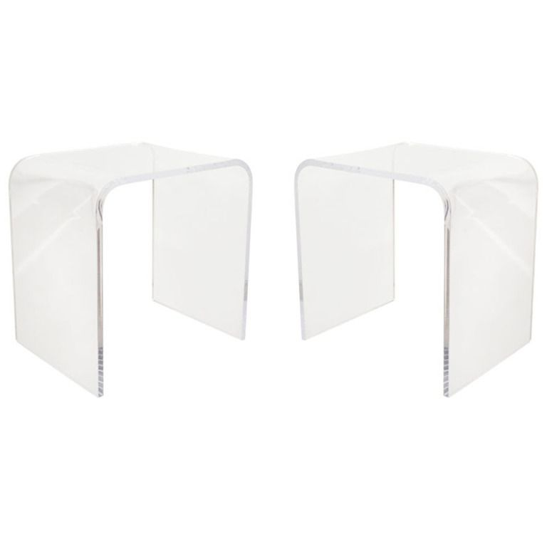 Timeless Mid Century Modern Style Waterfall Lucite Side Tables