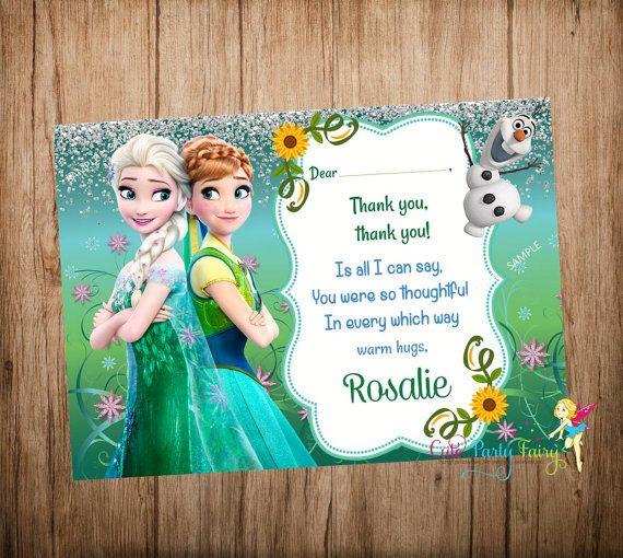 Frozen Fever Thank You Card Disney Frozen Thank By Cutepartyfairy Party Fun Frozen Bday Party Disney Frozen Frozen