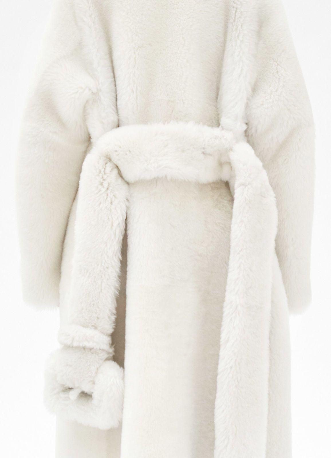Oversize Long Coat In Fluffy Shearling Celine Coat Fur Coat Fur [ 1600 x 1156 Pixel ]