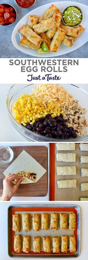 Baked Southwestern Egg Rolls are loaded with chicken, black beans, corn and cheese, plus guacamole for dipping! | recipe from justataste.com #recipe #eggrolls #eggrolls