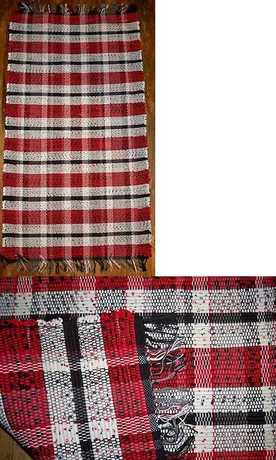 Woven Rag And Braided Rugs 160665 Handwoven Rag Rug Red White