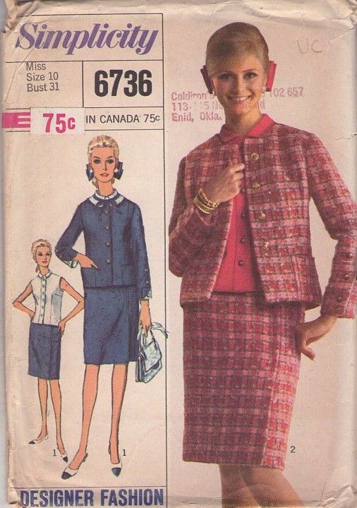 904314f99b3 ... Patterns - Simplicity 6736 Vintage 60 s Sewing Pattern SWELL Designer  Fashion Jackie O Chanel Style Suit