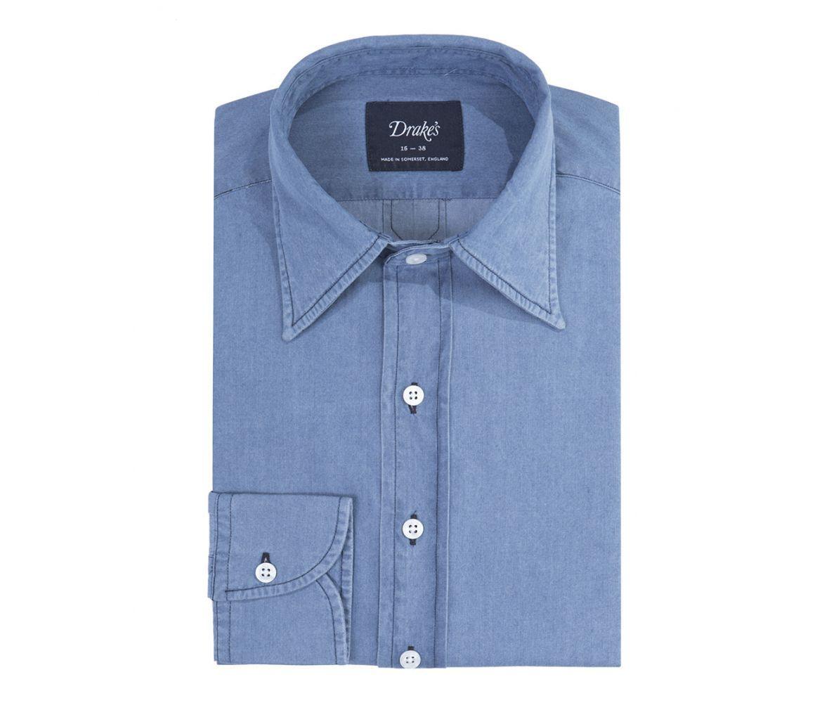 35cd0e6eca4 Powder Blue Washed Denim Long Point Collar Shirt in 2018