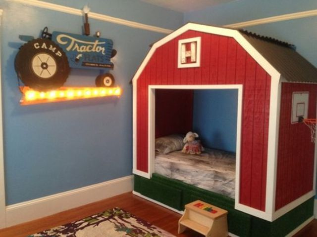 A Barn Bed Is An Adorable Option For A Rustic Room Farm Boy Room