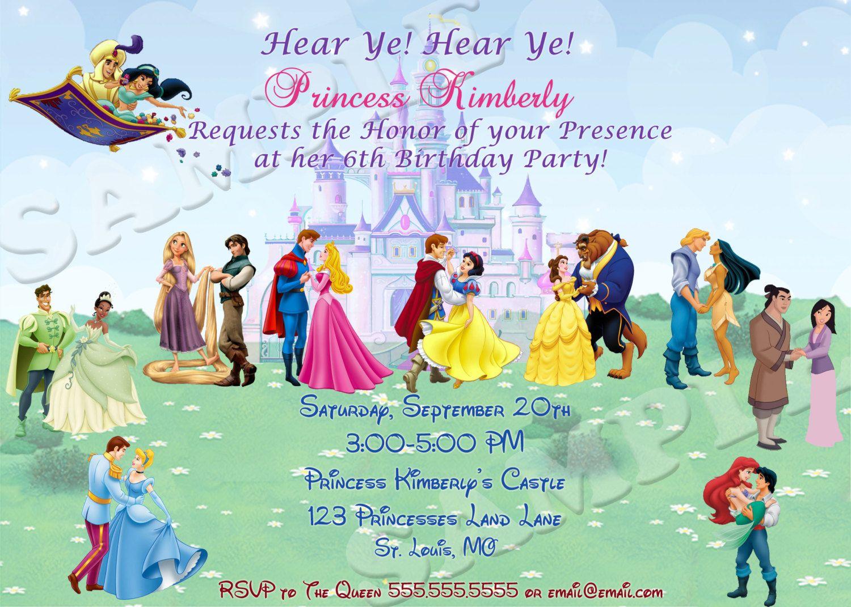 disney prince and princess invitationprintable by
