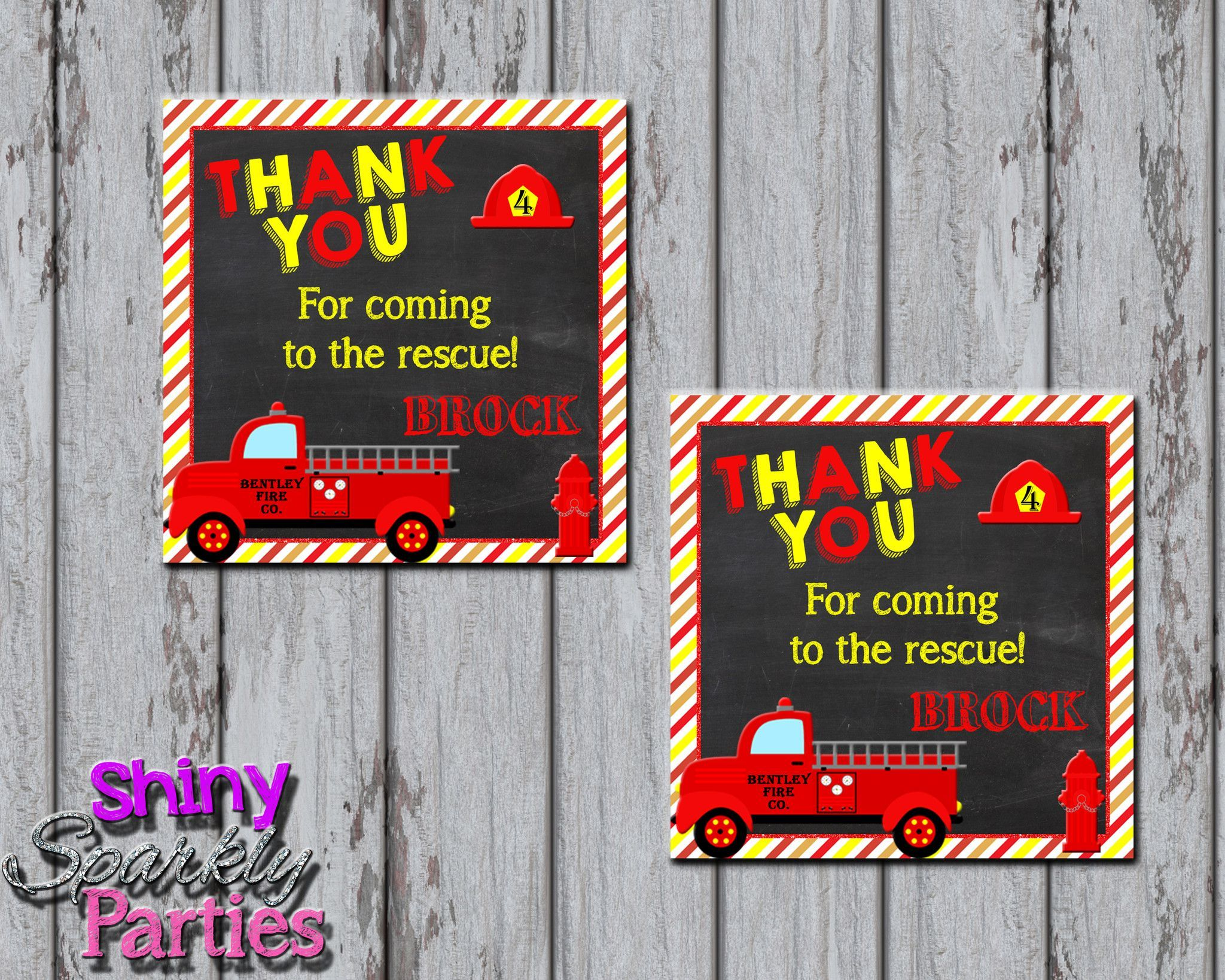 Printable Firetruck Party Favor Tags (Digital File Only)   Firetruck ...