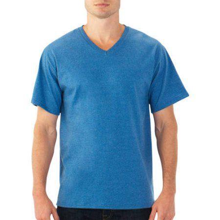 36c85ad7 Fruit of the Loom Platinum EverSoft Men's Short Sleeve V-Neck T Shirt, Blue