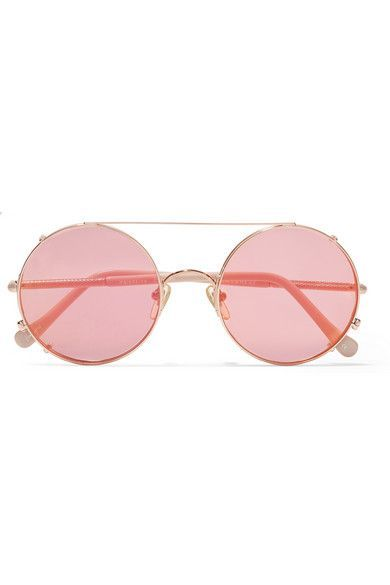 Sunday Somewhere - Valentine convertible round-frame rose gold-tone mirrored sunglasses