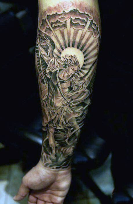 Male Forearms Guardian Angel Tattoo With Bright Disc