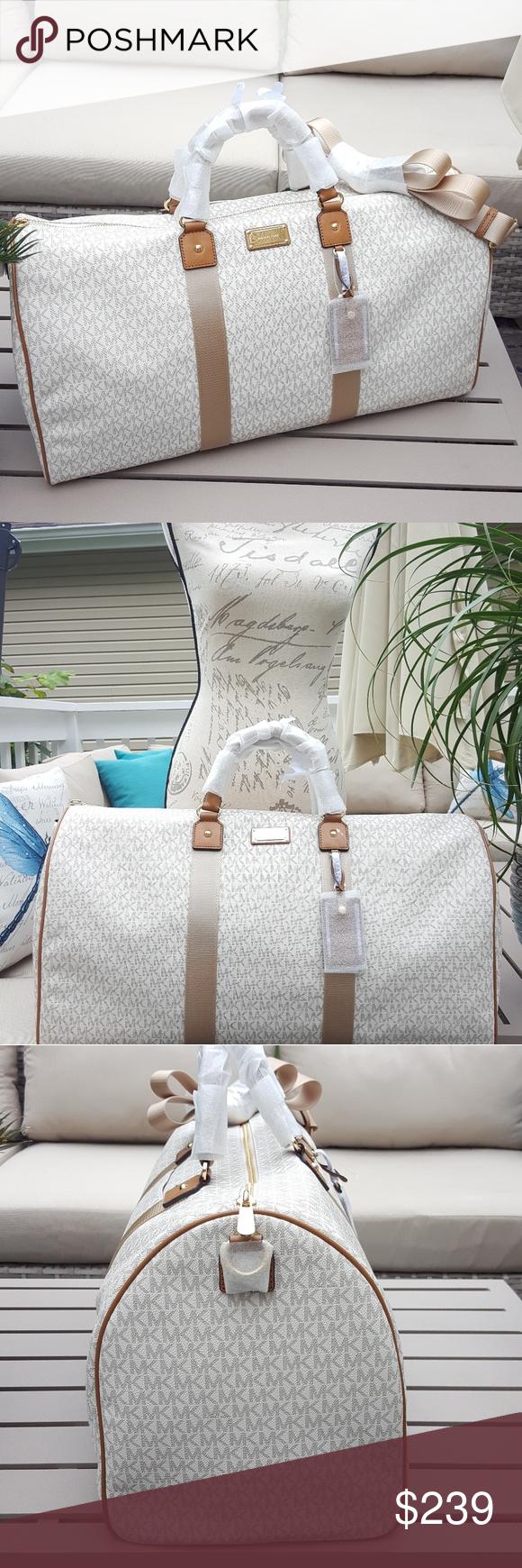 b4c8266bd157 Michael Kors travel duffle bag vanilla weekender 100% guaranteed authentic  NWT Michael Kors large LG
