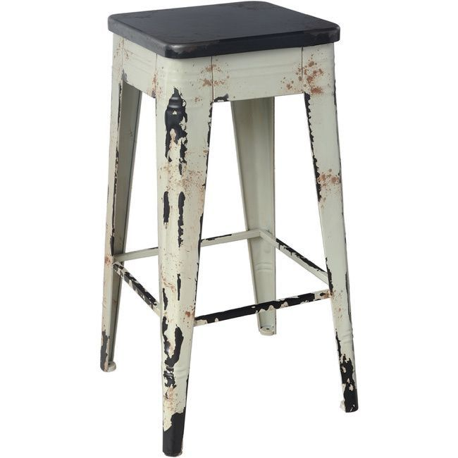 This Wooden Bar Stool Has A Distressed White Finish That
