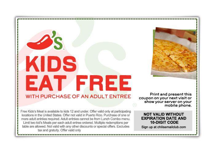Saving 4 A Sunny Day Kids Eat Free At Chili S Free Kids Meals Kids Eat Free Eat Free