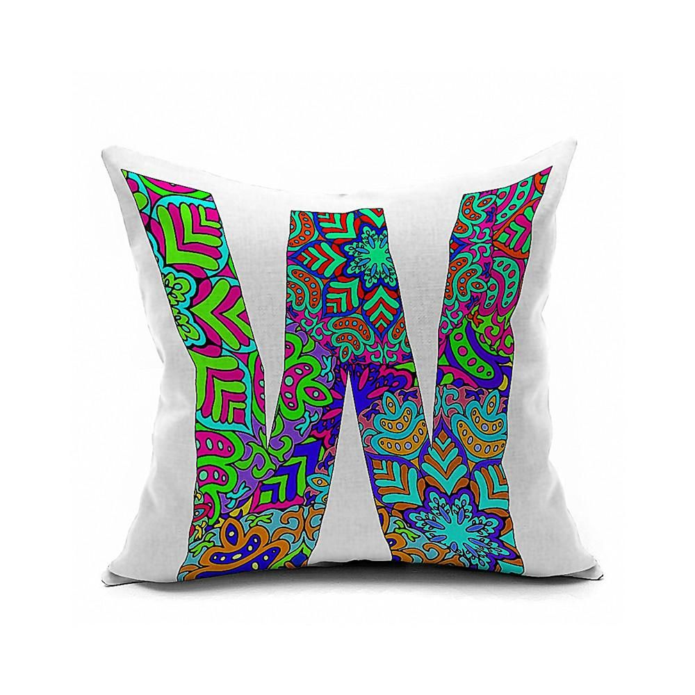 Cotton Flax Pillow Cushion Cover Letter   ZM158 - 8PS
